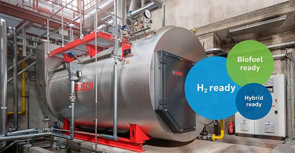 Bereit für die Zukunft: Prozesswärmelösungen von Bosch zur Nutzung von Wasserstoff, Bio-Brennstoffen oder grünem Strom – sowohl für Neuanalgen als auch zur Umrüstung bestehender Anlagen.