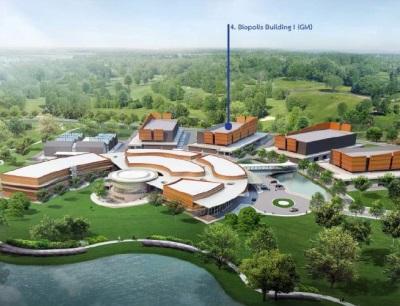 Biopolis-Komplex mit der geplanten Erweiterung