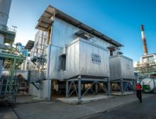 Die Lachgasreduktionsanlage von Lanxess am Standort Lillo/Antwerpen. Die Anlage senkt die Emissionen am Standort um 150.000 Tonnen CO2e pro Jahr