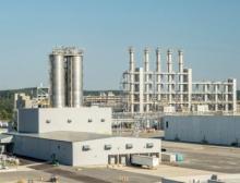 Blick auf die Produktionsanlagen für hochdisperse pyrogene Kieselsäure